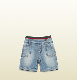 Gucci Baby Stone Washed Denim Bermuda Short