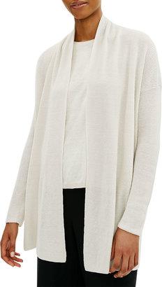 Eileen Fisher Organic Linen-Cotton High-Collar Cardigan