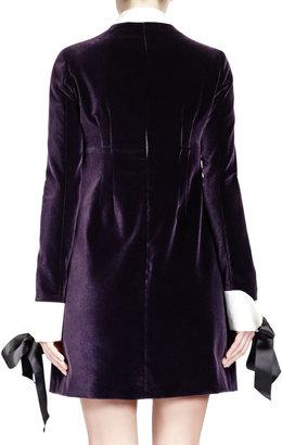 Alexander McQueen Velvet Contrast-Trim Long-Sleeve Dress
