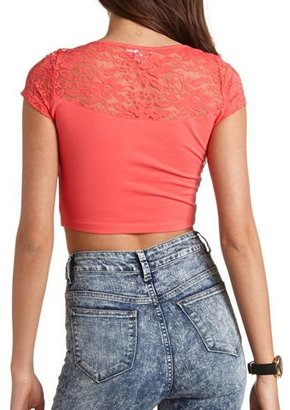 Charlotte Russe Short Sleeve Lace Crop Top
