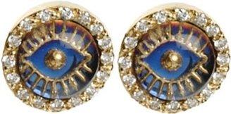 Ileana Makri Diamond Iridescent Eye Earrings