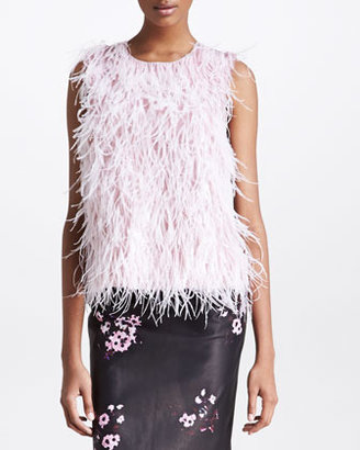 Erdem Sleeveless Feather Top, Pink