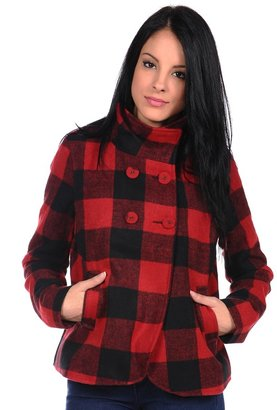 Coffee Shop Wool Checkered Peacoat