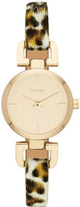 DKNY Watch, Women's Leopard Dyed Calf-Hair Leather Strap 24mm NY8880