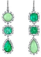 Irene Neuwirth Mixed Shape Emerald and Mint Chrysoprase Earrings with Diamonds - White Gold