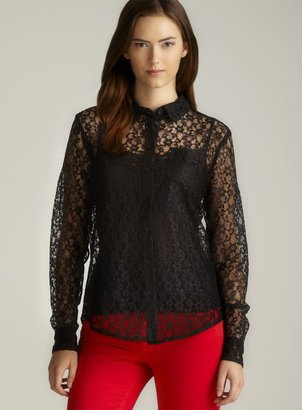 Isaac Mizrahi Long Sleeve Lace Button Down Top