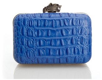 House Of Harlow Marley Clutch in Cobalt Croc