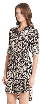 Diane von Furstenberg Prita Leopard Print Shirt Dress