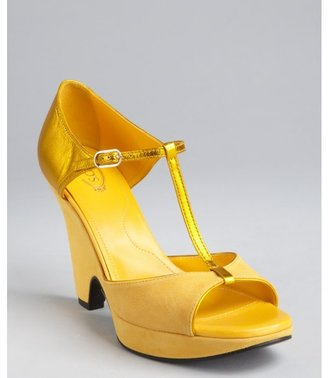 Tod's sunflower suede and metallic leather 'Melina' sandals