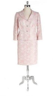 Albert Nipon Plus Two-Piece Floral Jacquard Skirt Suit