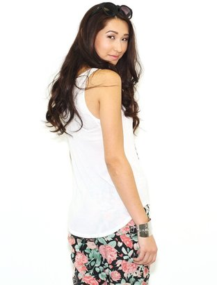 Lauren Moshi Bessy Rose Cross Tank with Side Inserts in White