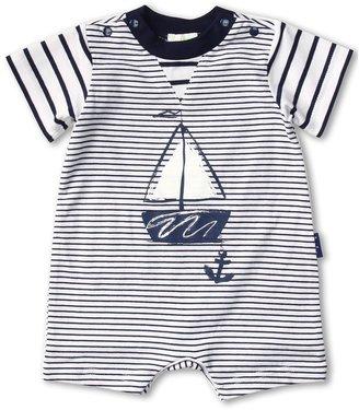Le Top Anchors Aweigh Mini Stripe Romper (Infant) (White) - Apparel
