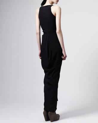 Rick Owens Tapered-Skirt Long V-Neck Dress