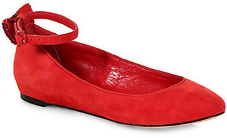 Alice + Olivia Dakota Suede Ankle-Strap Ballet Flats
