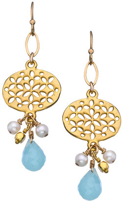 Athena Designs Gold Chalcedony and Pearl Drop Earrings