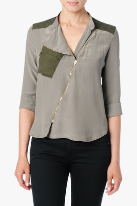 7 For All Mankind Zip Placket Blouse In Taupe Grey