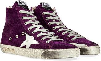 Golden Goose Violet Suede Leather Fancy Hi Sneakers
