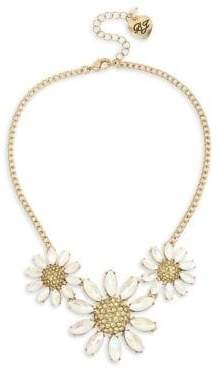 Betsey Johnson Bee Mine Daisy Flower Goldtone Crystal Necklace