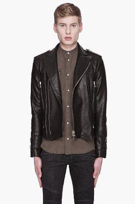 Balmain Black textured Leather Biker Jacket