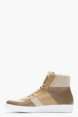 Marc Jacobs Taupe Patchworked Leather Zip High-Top Sneakers