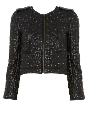 Alice + Olivia Siri Quilted Zipper Biker Jacket With Studs