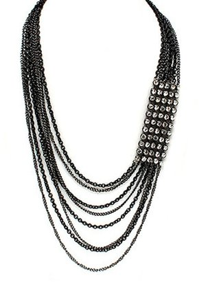 Tryst Style Multi Strand Necklace with Crystal Details