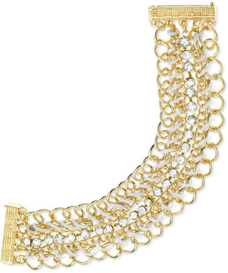 GUESS Gold-Tone Woven Chain and Crystal Bracelet