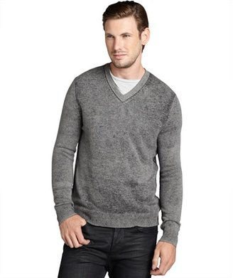 Harrison grey cashmere exposed seams v-neck sweater