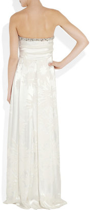 Matthew Williamson Strapless devoré silk gown