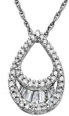Lord & Taylor 14 Kt. White Gold Diamond Teardrop Pendant Necklace
