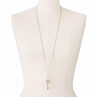 Lauren Conrad gold tone simulated crystal openwork key pendant