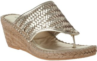 Andre Assous Alyssa Wedge Espadrille Gold Woven Leather