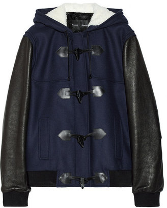 Proenza Schouler Shearling-trimmed wool-blend and leather jacket
