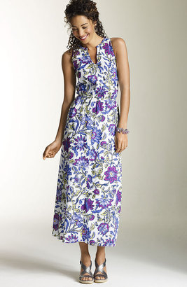 J. Jill Woodblock floral long cotton dress