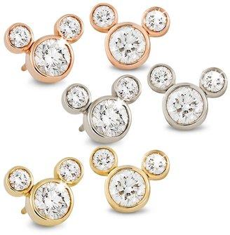 Disney Diamond Mickey Mouse 14K Earrings Medium