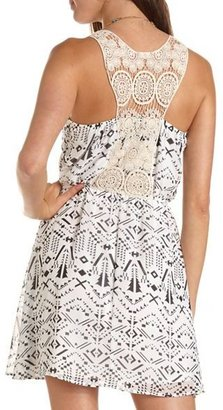 Charlotte Russe Crochet Back Geo Print Dress