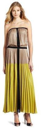 BCBGMAXAZRIA Women's Lilyan Pleated Colorblocked Strapless Maxi Dress