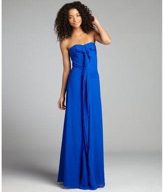 Badgley Mischka royal blue chiffon ruffle trimmed draped strapless gown