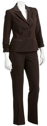 Larry Levine Signature by faux-leather trim suit jacket & pants set