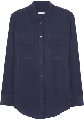 Equipment - Signature Washed-silk Shirt - Navy $220 thestylecure.com