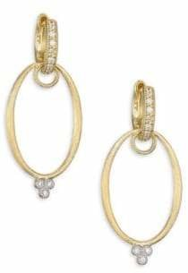 Jude Frances Provence Diamond & 18K Yellow Gold Oval Earring Charm Frames