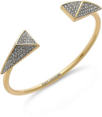 Juicy Couture Bracelet, Gold-Tone Black Pave Triangle Skinny Bangle Bracelet