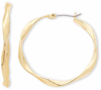Liz Claiborne Gold-Tone, Ribbon Hoop Earrings