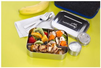 LunchBots Trio Stainless 3-Compartment Container, Stainless Lid