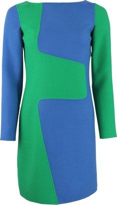 Michael Kors Long Sleeve Boatneck Puzzle Shift Dress