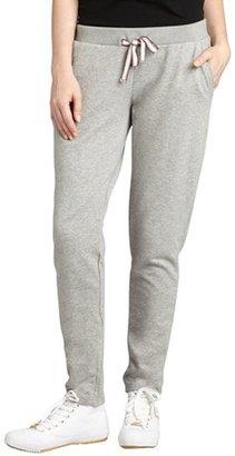 Moncler heather grey cotton blend jersey straight leg sweatpants