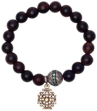 Loree Rodkin Wooden bead bracelet with diamond charms