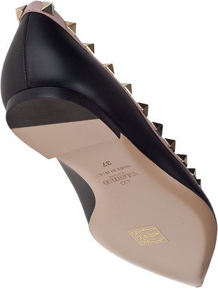 Valentino Rockstud Ballet Flat Black Leather