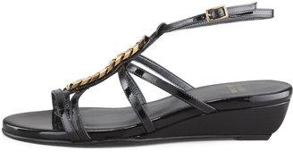 Stuart Weitzman Tiffy Chain-Trim Wedge Sandal, Black