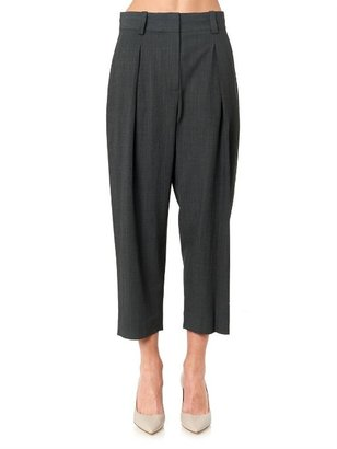 L'Agence Pleated-front cropped tailored trousers